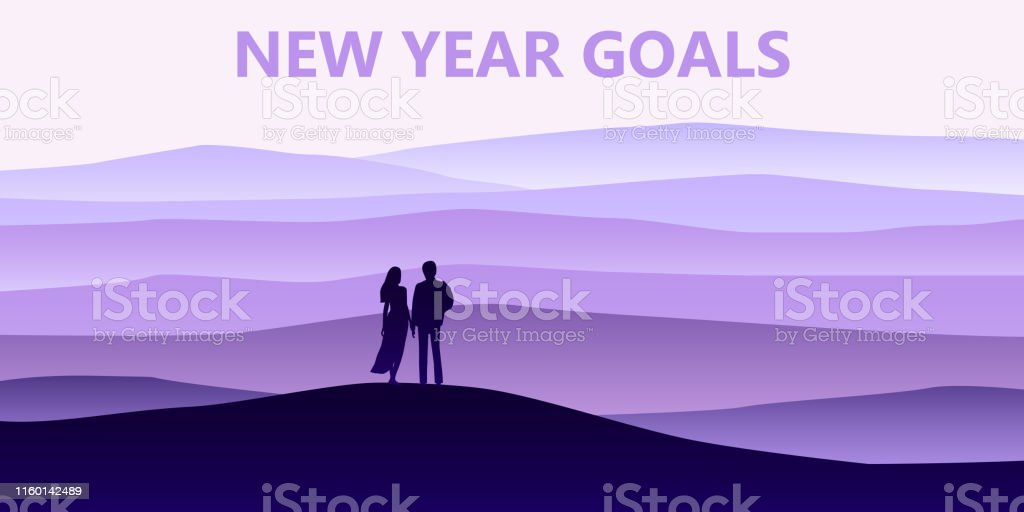 Loving couple silhouette , a man and a woman are looking at the new...