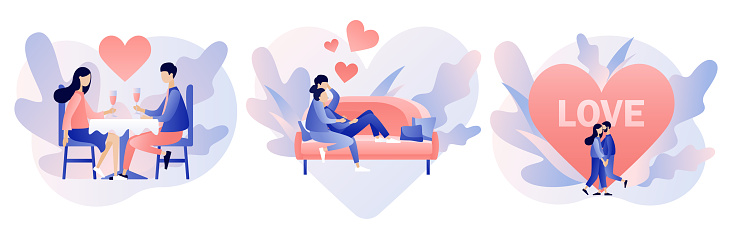 Loving couple spending time or relaxing together. Romantic date concept. Characters Valentine day set. Modern flat cartoon style. Vector illustration on white background