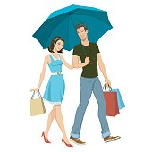 loving couple under an umbrella in the rain. vector illustration of a shopping young couple walks in the rain