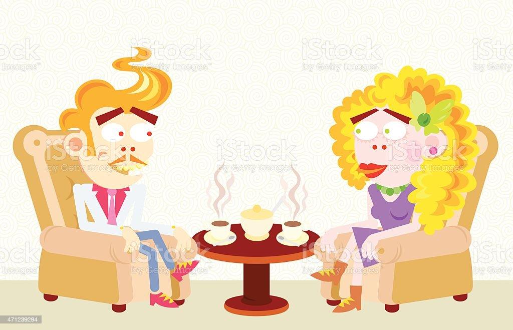 Loving couple vector art illustration