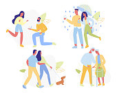 Loving Couples Set Isolated on White Background. Young and Senior People in Love Spend Time Together, Walking under Rain, with Pet, Gifting Engagement Ring, Relations. Cartoon Flat Vector Illustration