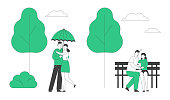 Loving Couples Spare Time. Young People in Love Spend Time Together, Man and Woman Walking under Umbrella in Rainy Weather, Hugging and Kissing on Bench. Cartoon Flat Vector Illustration, Line Art