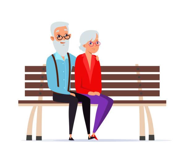 bildbanksillustrationer, clip art samt tecknat material och ikoner med kärleksfulla äldre par platt vektor illustration isolerad på vit bakgrund - bench