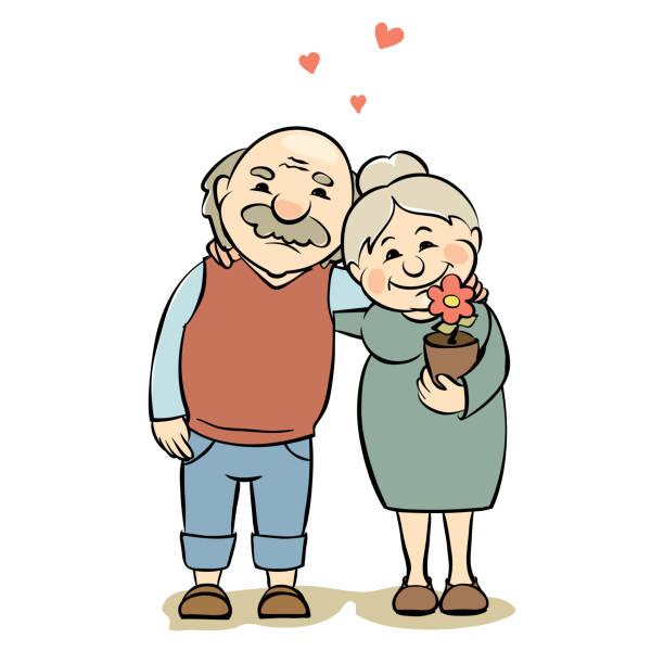 愛情の高齢者カップル - 老夫婦点のイラスト素材/クリップアート素材/マンガ素材/アイコン素材