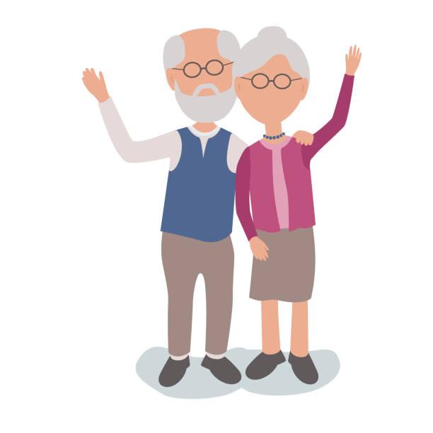 Älterer Mann und Frau paar winken zu lieben – Vektorgrafik