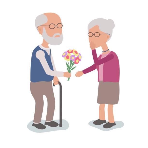 Älterer Mann zu lieben verleiht Frau Blumen – Vektorgrafik