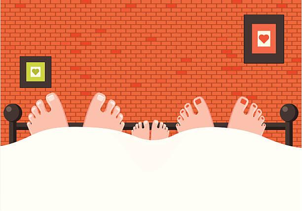 Loving Family, Feet in Bed Loving Family, Feet in Bed bedroom patterns stock illustrations