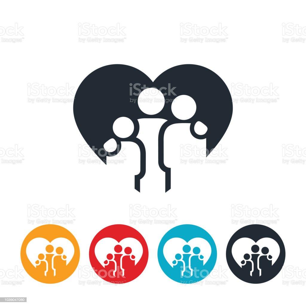 Loving Family of Three Icon vector art illustration