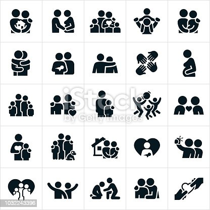 A set of loving family relationships icons. The icons show families, purchasing a home, pregnancy, piggyback ride, hugging, newborn, arm around shoulder, love, concern, single parenting, playing together, taking pictures and spending time together to name just a few.