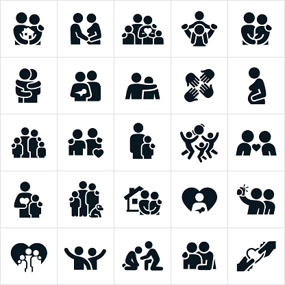 Loving Family Relationships Icons clipart