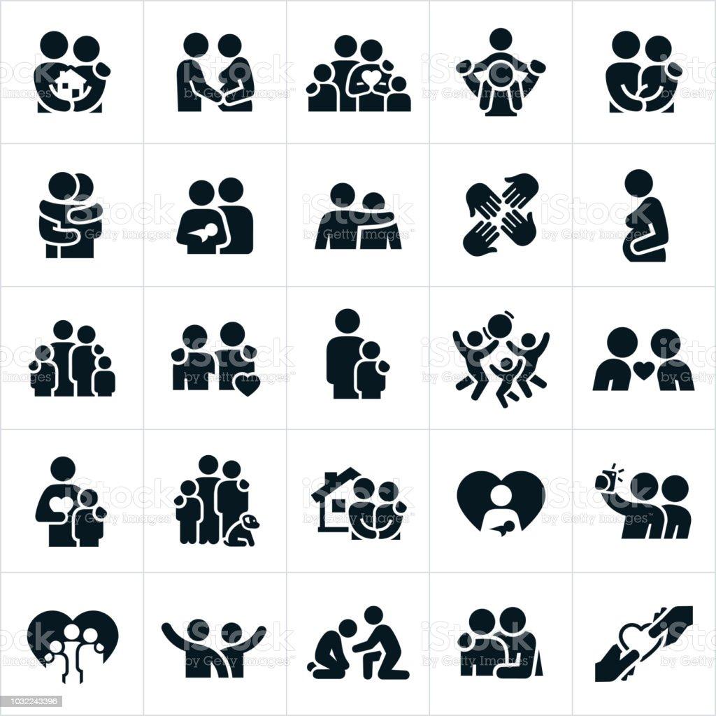 Loving Family Relationships Icons vector art illustration
