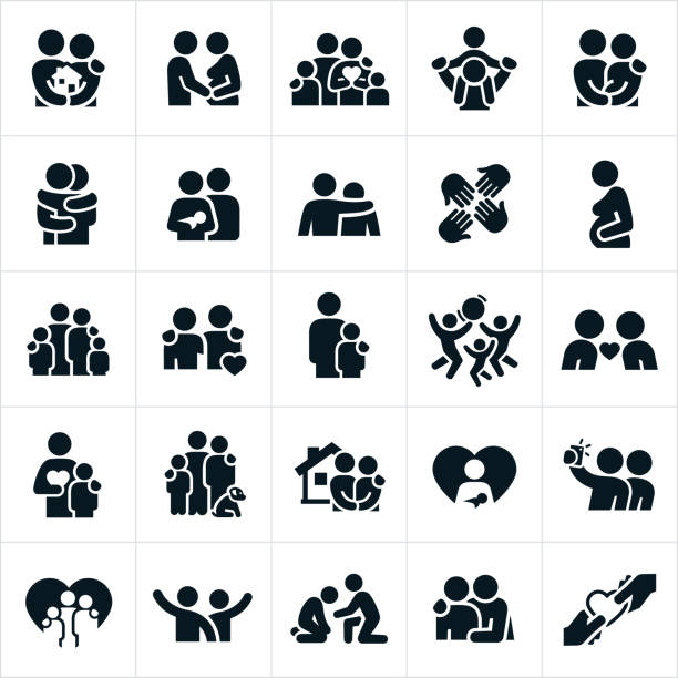 loving family relationships icons - family stock illustrations, clip art, cartoons, & icons