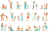 Loving Fathers Playing And Enjoying Good Quality Daddy Time With Their Happy Children Set Of Cartoon Illustrations Single Dad And Kid Smiling Flat Colorful Vector Characters Collection.