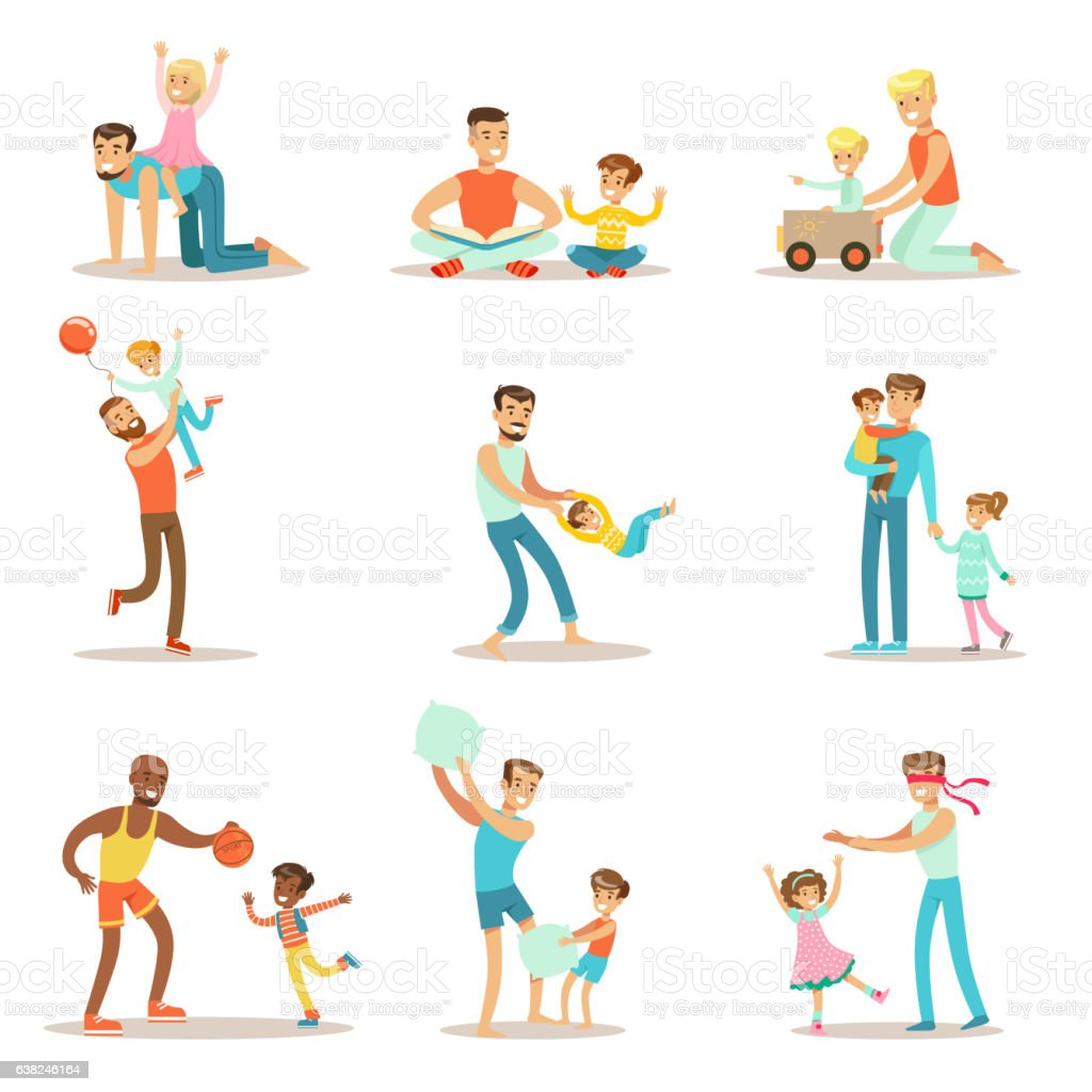 Loving Fathers Playing And Enjoying Good Quality Daddy vector art illustration