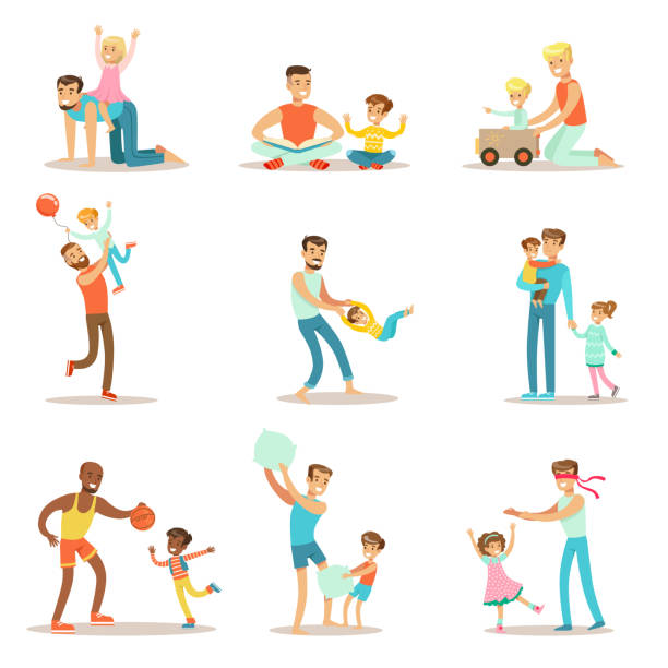 ilustrações, clipart, desenhos animados e ícones de loving fathers playing and enjoying good quality daddy - pai