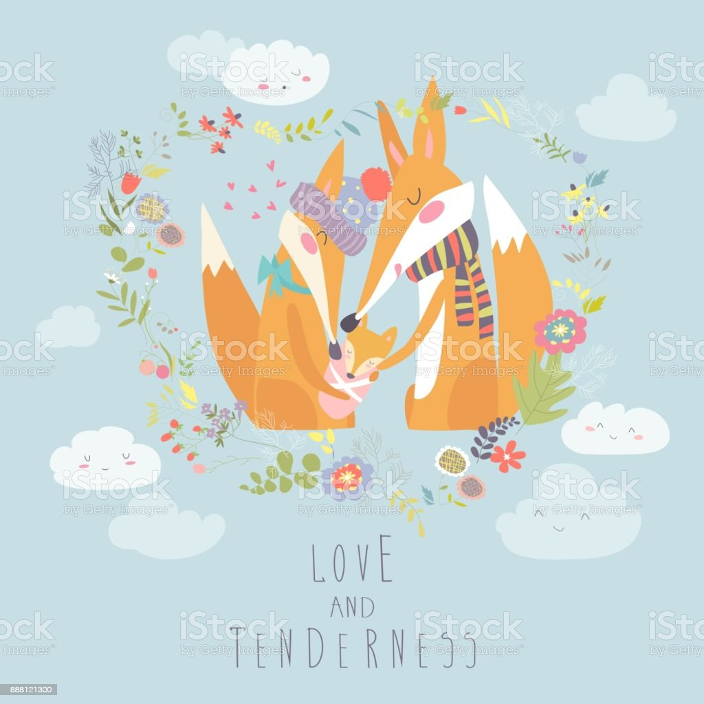 Loving fox family as a shape of a heart. Mother, father and baby child vector art illustration