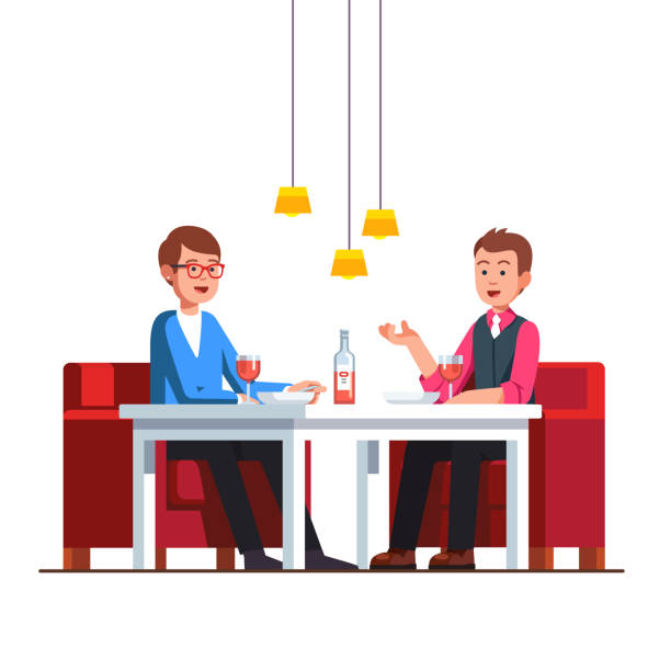 loving gay couple sitting at restaurant table - date night stock illustrations