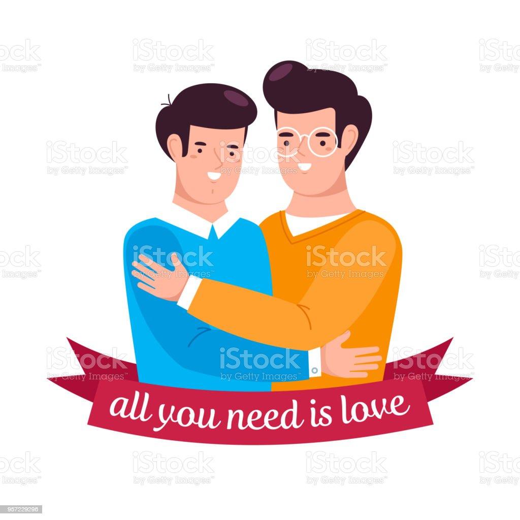 愛する男が抱き合う - 2人のベクターアート素材や画像を多数ご用意