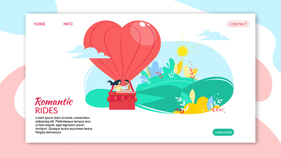 Loving Happy Couple in Heart Shaped Air Balloon