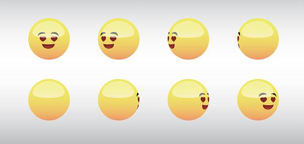 3D Loving Head Emoticon Spinning Social Media Icons Vector