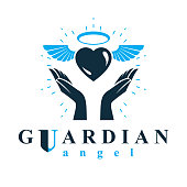 Loving heart in human hands, giving aid metaphor. Holy spirit graphic vector icon best for use in charity organizations.