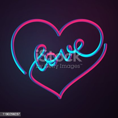 A bright neon colored valentine's day heart with the word love in tur center. Single line illustration. EPS10 vector illustration, global colors, easy to modify.
