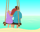 Couple - Relationship, Beach, Cartoon, Happiness, Vacations