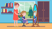 Loving mother combing hair of daughter kid sitting on chair in front of home mirror. Smiling mom taking care of her girl. Room interior. Parenting and family relationship. Flat style vector isolated illustration