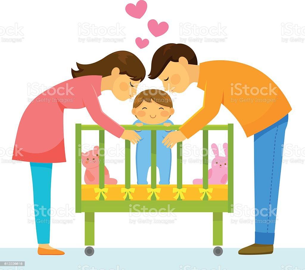 loving parents vector art illustration