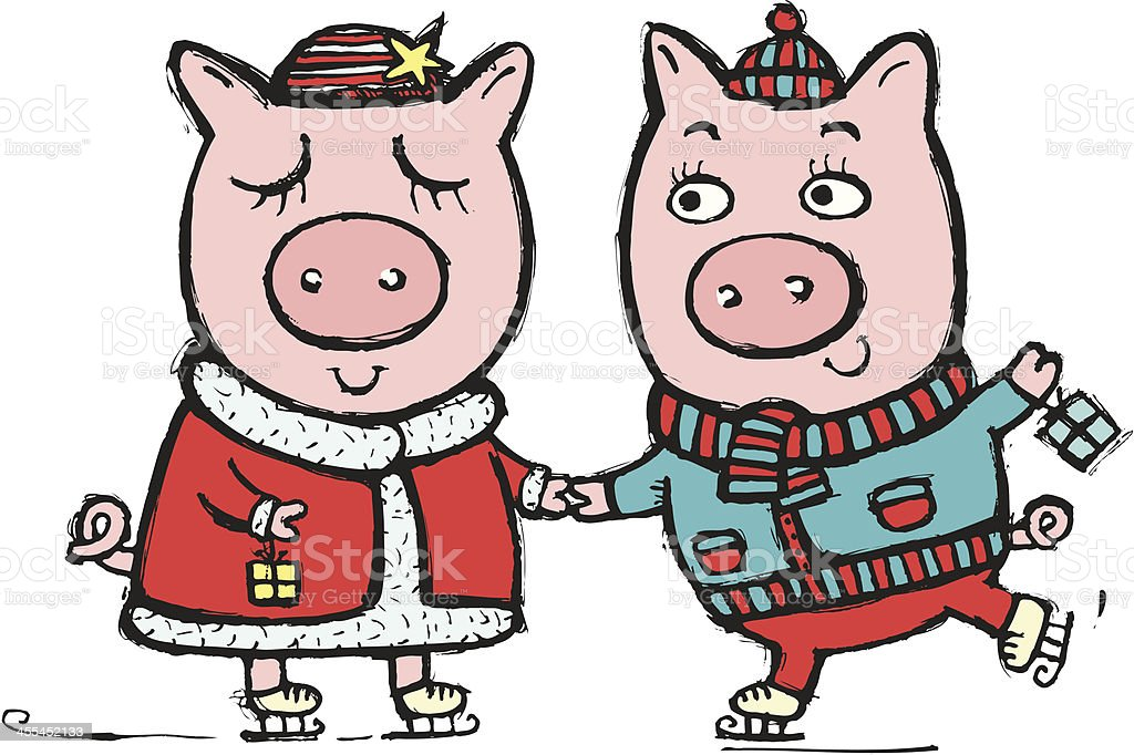 Loving pigs royalty-free stock vector art