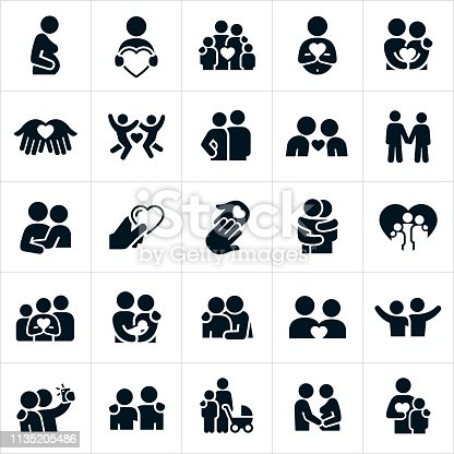A set of loving relationships icons. The icons include families, couples, boyfriend and girlfriend, pregnant women, feeling of love and affection symbolized by a heart shape, husband and wife, hugs, arms around shoulders, newborns, children, babies and other related icons.