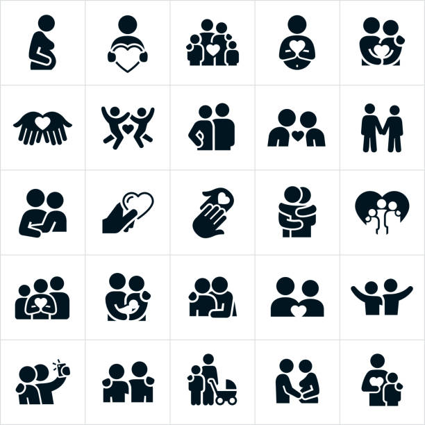 illustrazioni stock, clip art, cartoni animati e icone di tendenza di icone delle relazioni amorose - family
