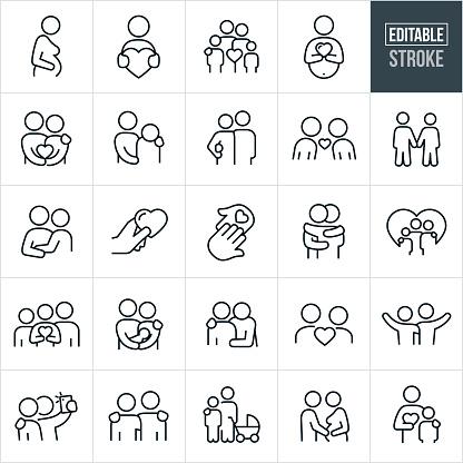 Loving Relationships Thin Line Icons - Editable Stroke