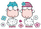 Vector illustration of loving cartoon sheep