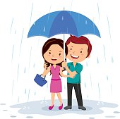 Loving young couple with umbrella in the rain