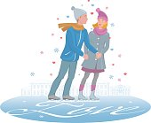 """Loving young european couple skating holding hands, drawing blades letters """"Love"""" on the background of vintage romantic street. Isolated, cartoon, color vector."""
