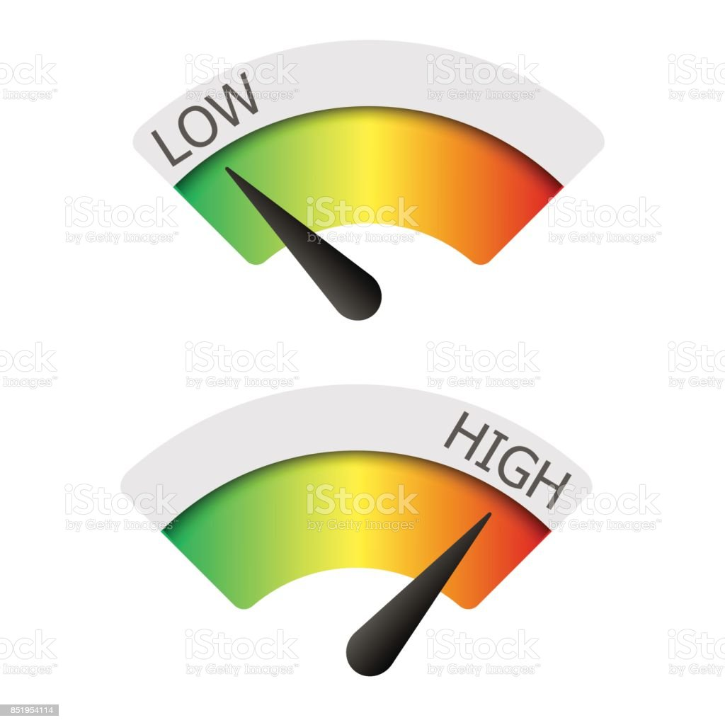 Low  and High gauges. Vector illustration.