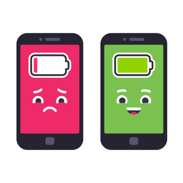 Low battery and charged smartphone Two smartphones with cute cartoon faces. Sad phone with low battery and happy fully charged. Funny vector illustration. cell phone charger stock illustrations