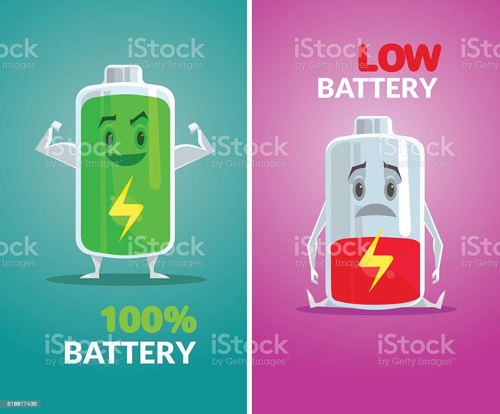 Low battery and full battery. Vector flat illustration vector art illustration