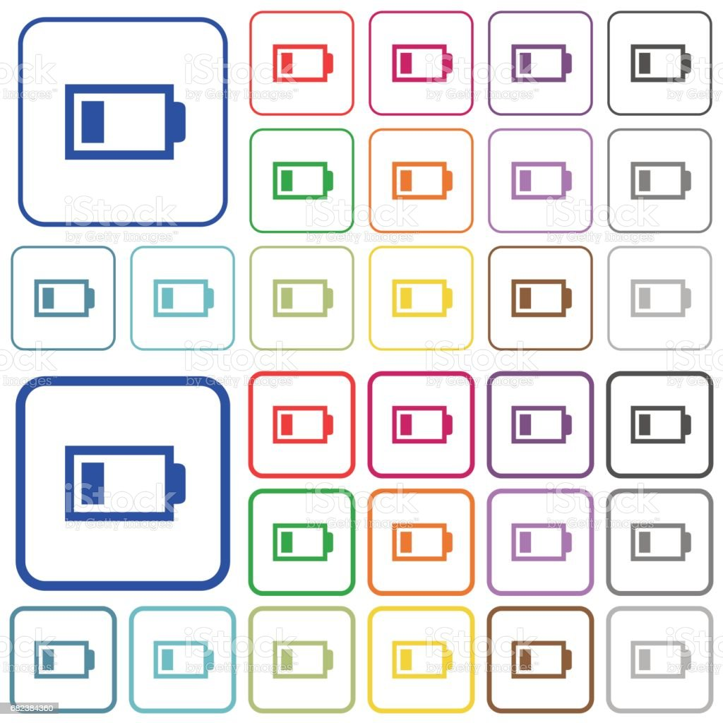 Low battery color outlined flat icons low battery color outlined flat icons - immagini vettoriali stock e altre immagini di alcalino royalty-free