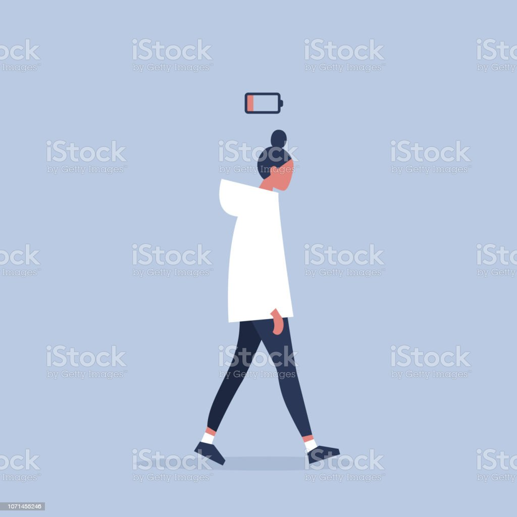 low battery conceptual illustration. young female exhausted character. Modern urban life / flat editable vector illustration royalty-free low battery conceptual illustration young female exhausted character modern urban life flat editable vector illustration stock illustration - download image now