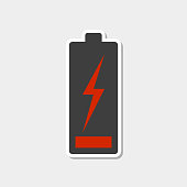 Low battery icon with white stroke. Sticker style. Vector illustration on white background.