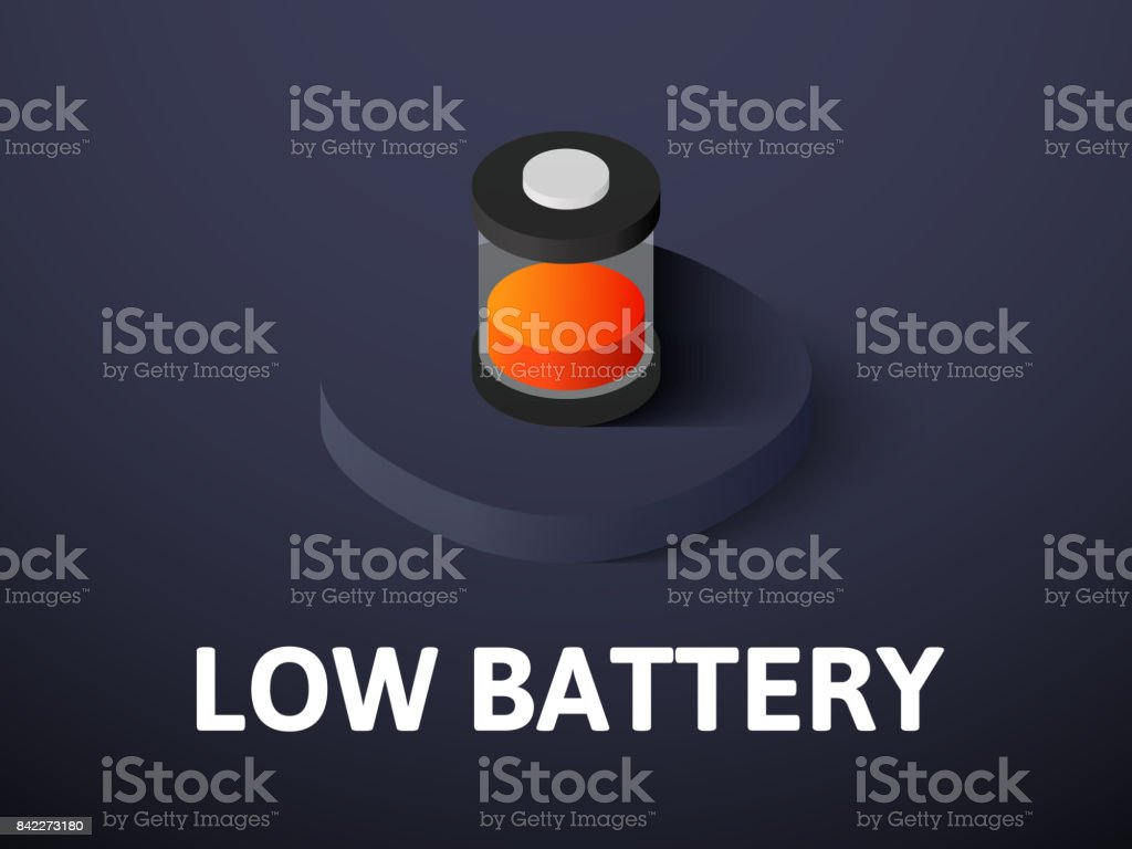 Low battery isometric icon, isolated on color background vector art illustration