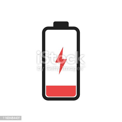 Low battery level icon isolated. Charging symbol. Electic charge technology. EPS 10