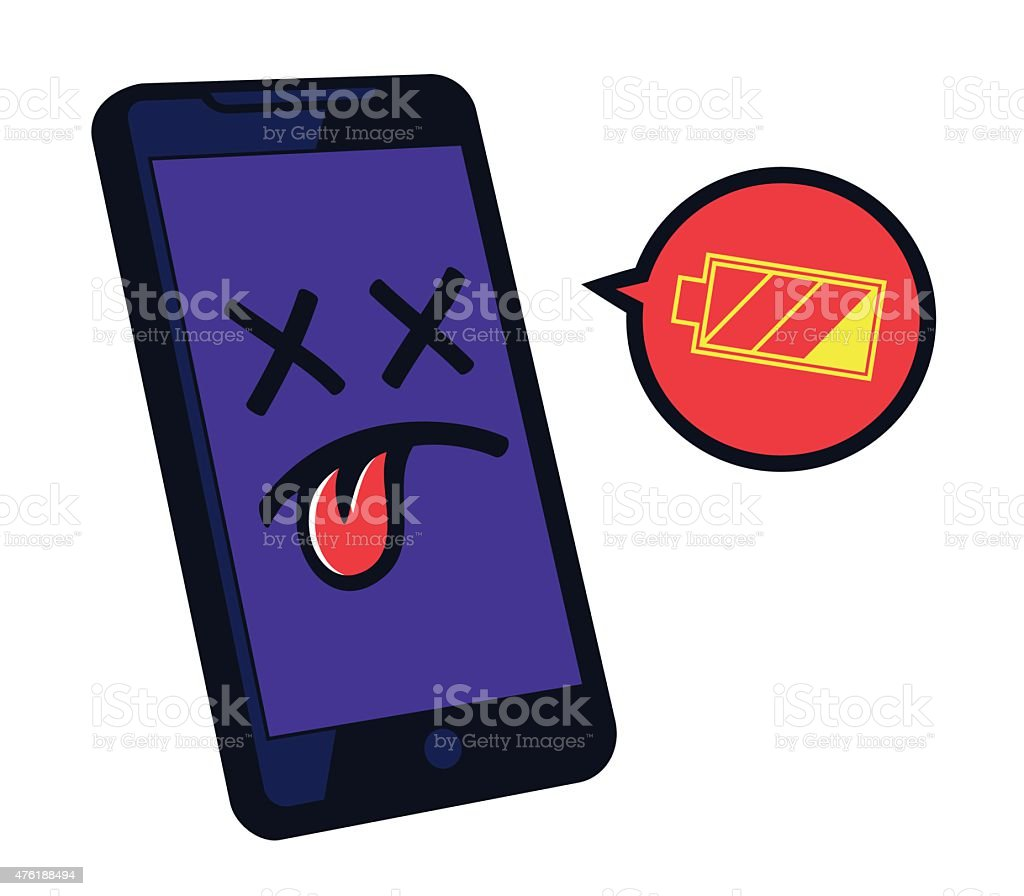 Low battery smartphone needs recharge, battery life duration problems vector art illustration