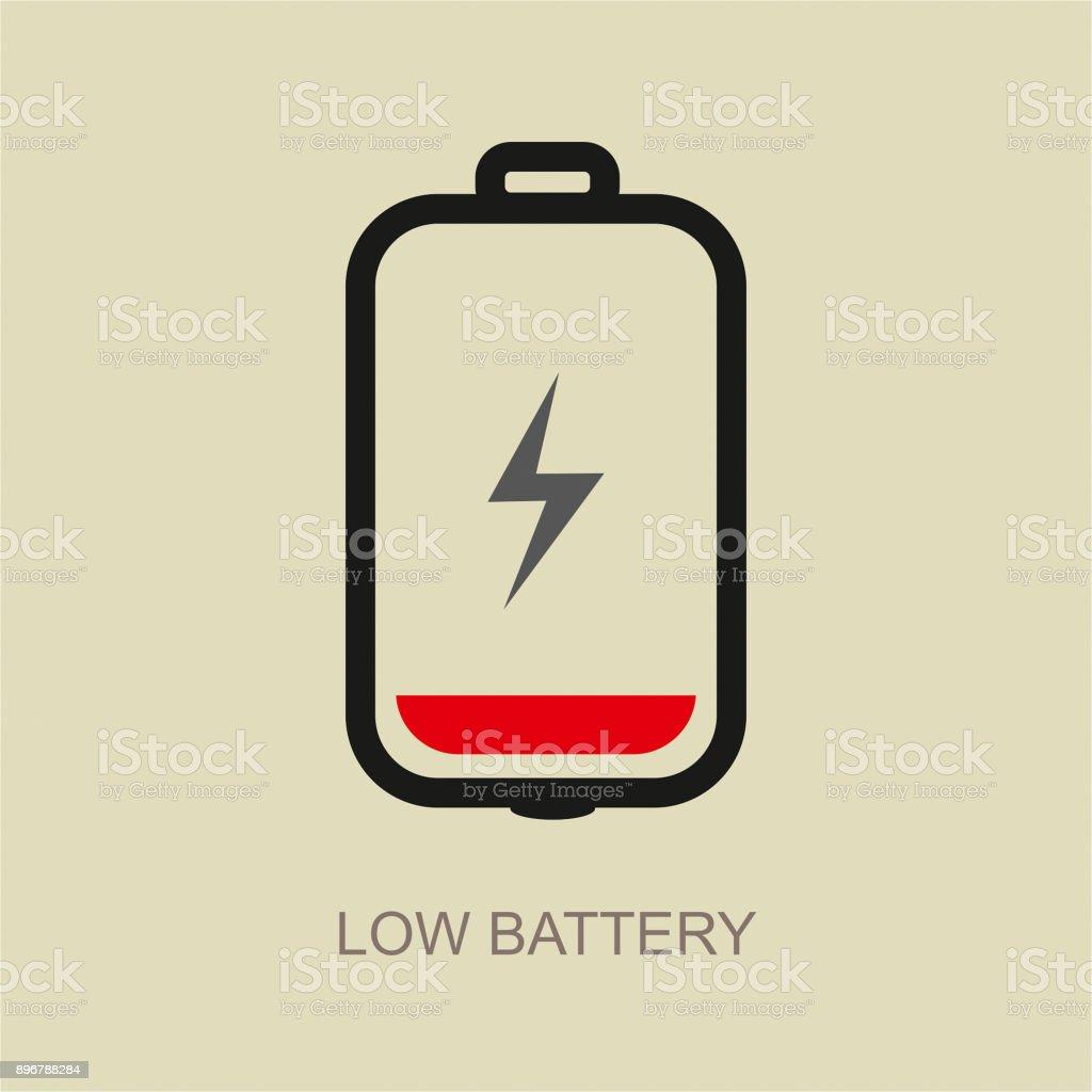 Low battery vector icon vector art illustration