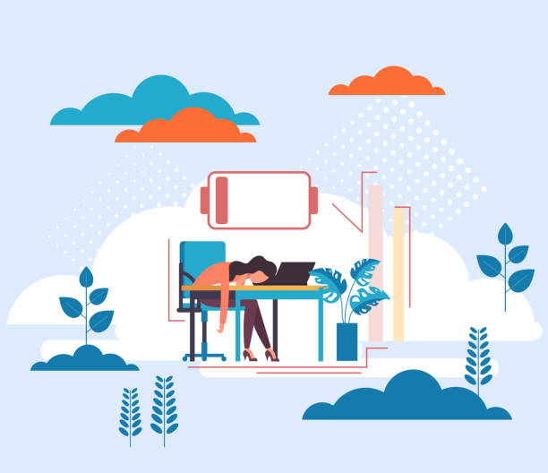 Low charge people work concept. Tired secretary woman character. Vector flat graphic design cartoon illustration Low charge people work concept. Tired secretary woman character. Vector flat graphic design cartoon mental burnout stock illustrations