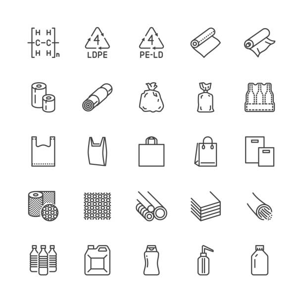 low density polyethylene flat line icons. ldpe products - food package film, thermoresistant paper, garbage bag, plastic bottle, bubble wrap vector illustrations. pixel perfect 64x64 editable strokes - torba stock illustrations