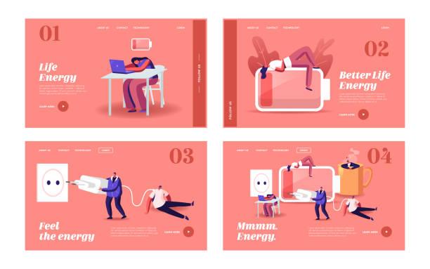 낮은 에너지 및 작업 번아웃 랜딩 페이지 템플릿 세트. 작은 지친 비즈니스 사람들 캐릭터 잠들고 휴식 - burnout stock illustrations