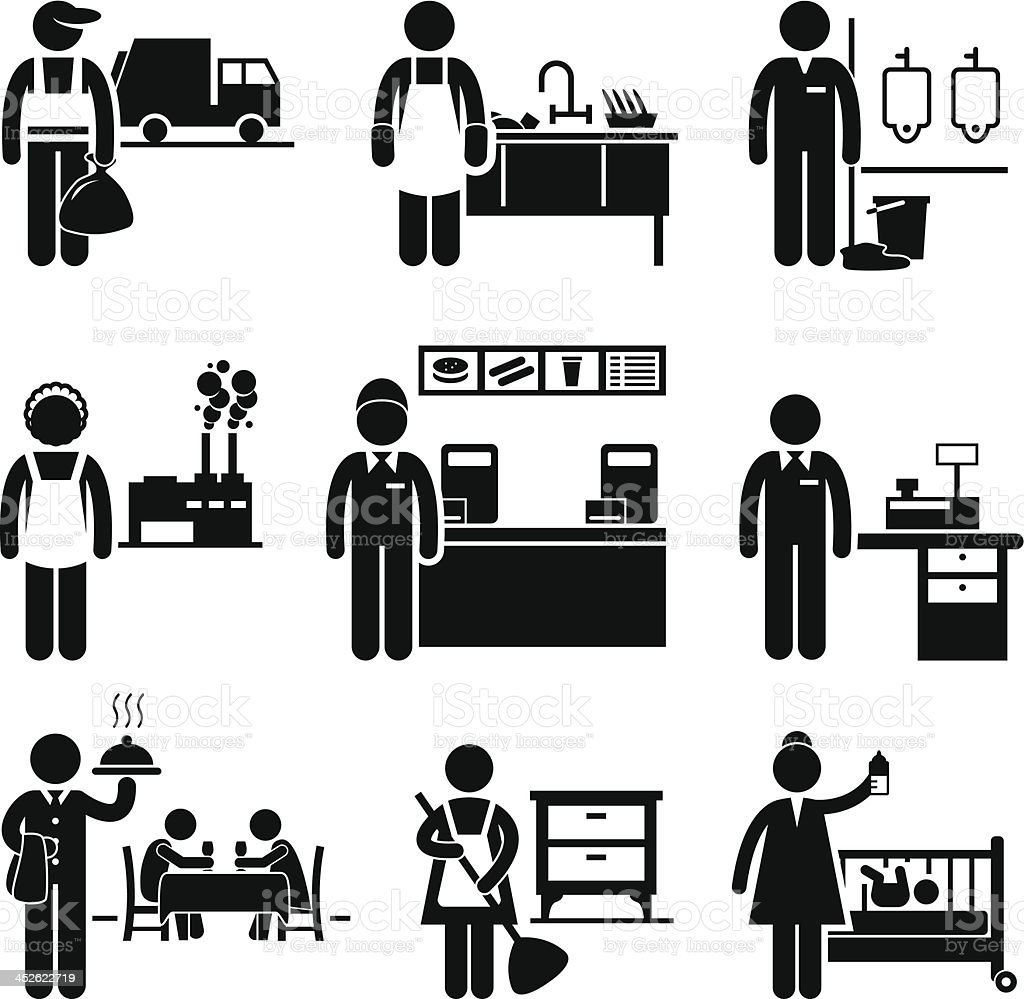 Low Income Jobs Occupations Careers vector art illustration